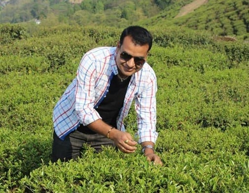 Nabin in a tea field