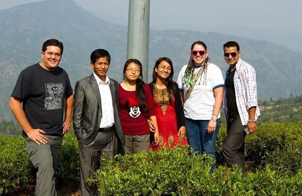 Left to right: Mike Petersen, Unknown Tea Farmer, Toyama Rai, Susma Bastola, Elyse Petersen, and Nabin Koirala