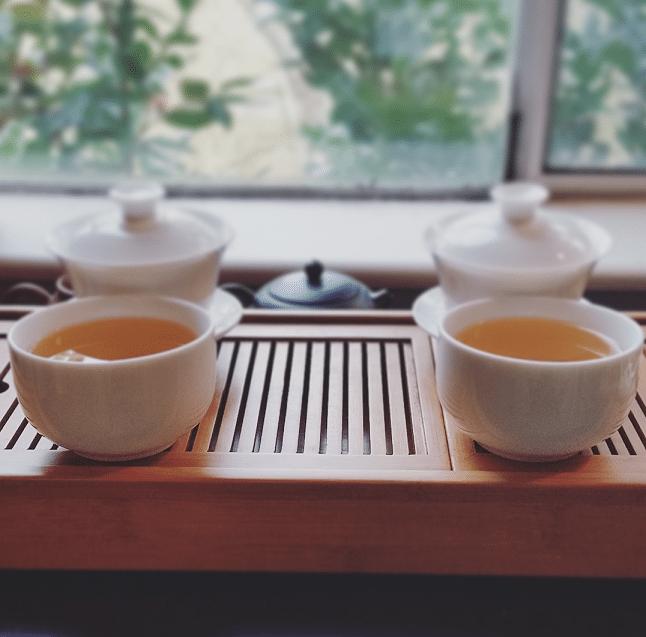 two dark teas brewed