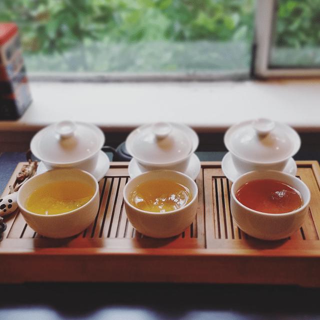 All three Ali Shan Dark teas brewed
