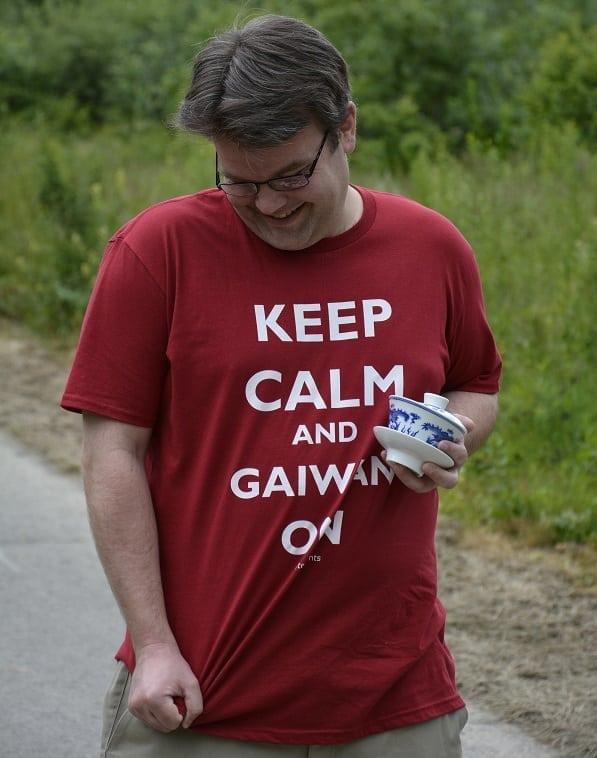 Bashful Keep Calm shirt pose