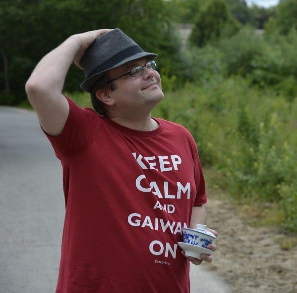 Wistful Keep Calm shirt pose