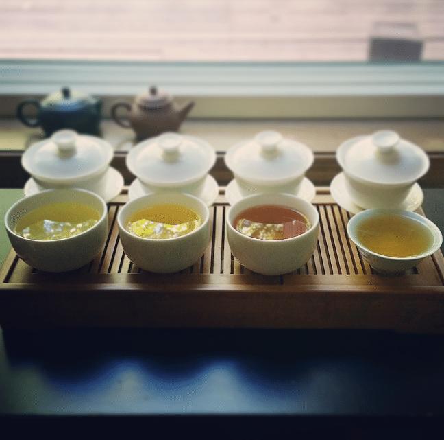 All four German teas brewed