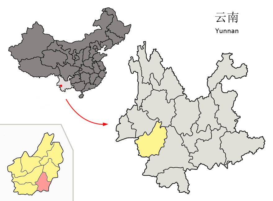 Shuangjiang is the little red area. Obviously.